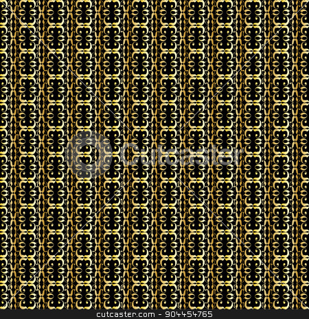 Golden Background stock vector clipart, A linked gold pattern background over black by Kotto