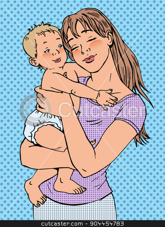 Mom woman with a baby in her arms stock vector clipart, Mom woman with a baby in her arms. Modern joyful girl by rogistok