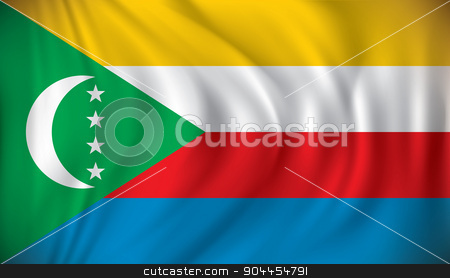 Flag of Comoros stock vector clipart, Flag of Comoros - vector illustration by ojal_2