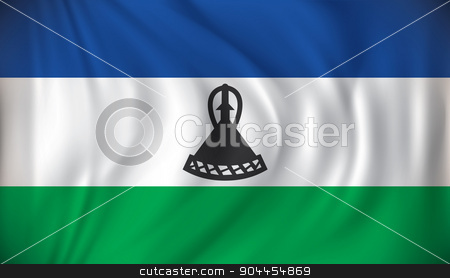 Flag of Lesotho stock vector clipart, Flag of Lesotho - vector illustration by ojal_2
