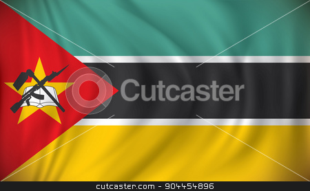 Flag of Mozambique stock vector clipart, Flag of Mozambique - vector illustration by ojal_2