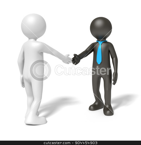 black and white man shaking hands stock photo, An image of a black and a white man shaking hands by Markus Gann