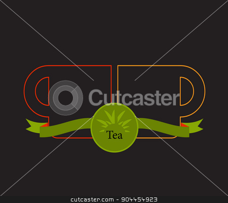 warm drink stock vector clipart, Green tea cup,Vector tea cup on green background,icon cup. by Pavel Skrivan