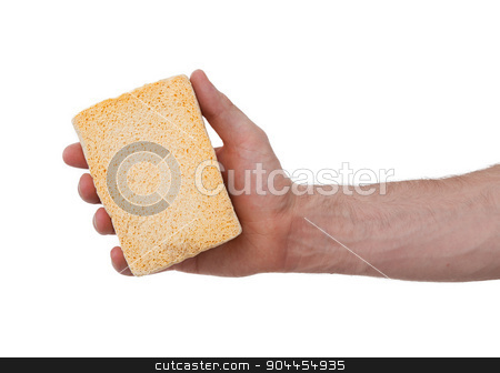 Yellow Sponge with white background stock photo, Yellow Sponge with white background, hand of an adult man by michaklootwijk