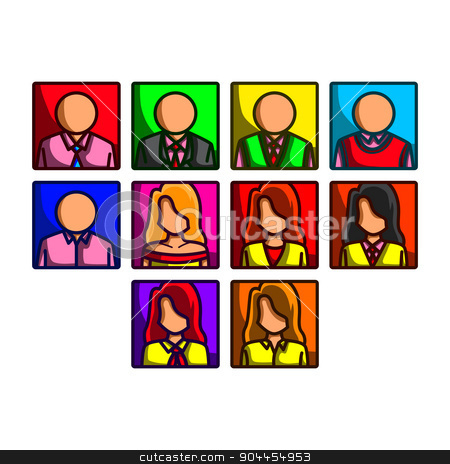 Business people icon set stock vector clipart, A collection of colorful cartoon business people by Ang Bay