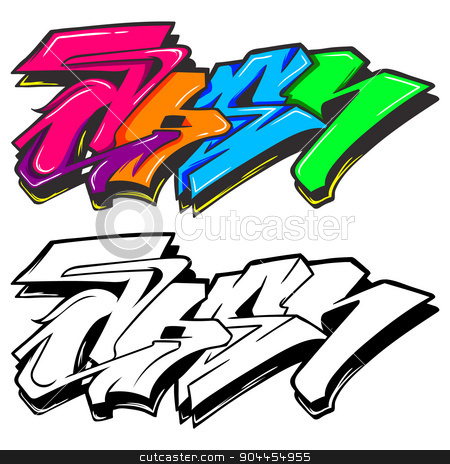 Graffiti stock vector clipart, A cute cartoon colorful graffiti can use as background by Ang Bay