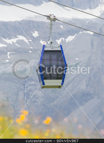 Ski lift cable booth or car stock photo, Ski lift cable booth or car, Switzerland in summer by michaklootwijk