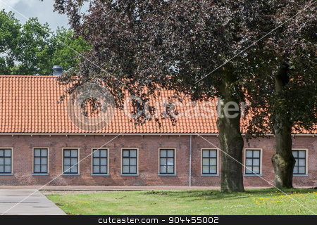 Old red roof  stock photo, Very old red roof on dutch style house by michaklootwijk