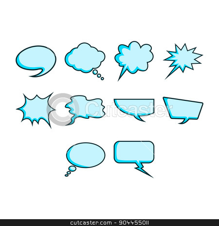 Word bubble icon set stock vector clipart, A collection of comic word bubble icon by Ang Bay