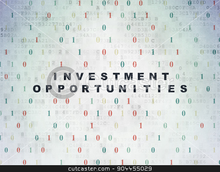 Business concept: Investment Opportunities on Digital Paper background stock photo, Business concept: Painted black text Investment Opportunities on Digital Paper background with Binary Code by mkabakov