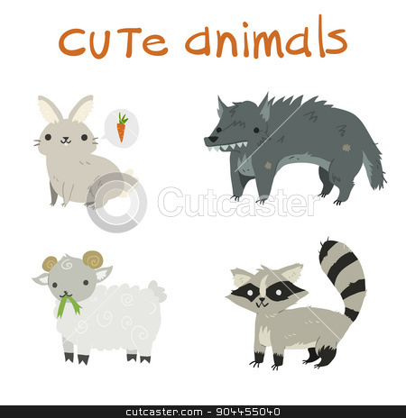 Cartoon set of rabbit, wolf, sheep, raccoon flat icons. stock vector clipart, The vector illustration mascot for ui, web games, tablets, wallpapers, and patterns. by lemon5ky