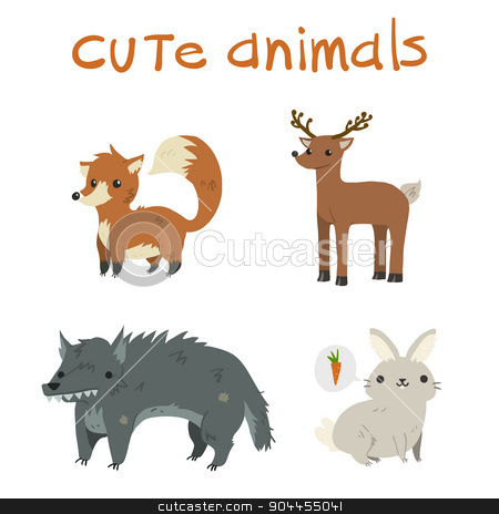 Cartoon set of fox, deer, wolf, rabbit flat icons. stock vector clipart, The vector illustration mascot for ui, web games, tablets, wallpapers, and patterns. by lemon5ky