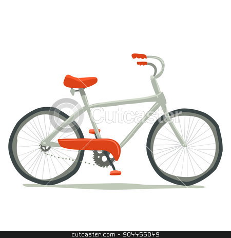 Bicycle icon.  stock vector clipart, Vector hand drawn illustration of tiny cute red bicycle. For ui, games, and patterns. by lemon5ky