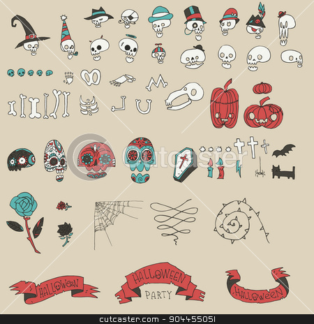 Big halloween elements set. stock vector clipart, Vector pattern for web page backgrounds, postcards, greeting cards, invitations, pattern fills, surface textures. by lemon5ky