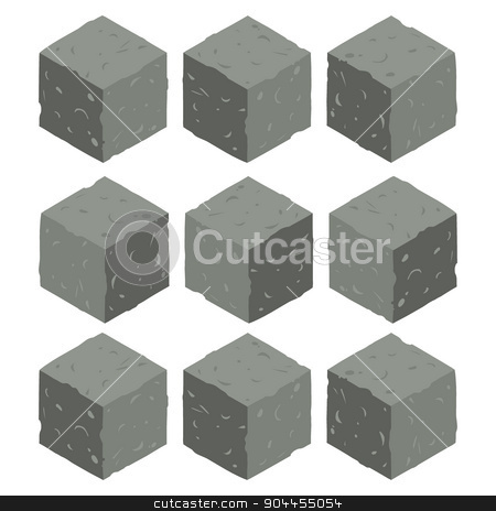 Cartoon Isometric rock stone game brick cubes set. stock vector clipart, The vector illustration for ui, web games, tablets, wallpapers, and patterns. by lemon5ky
