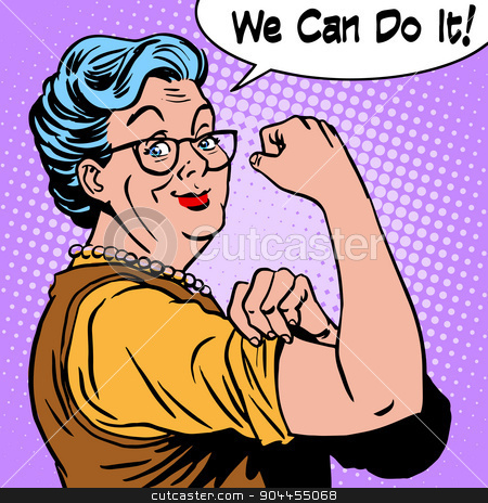 Granny old woman gesture we can do it stock vector clipart, Granny old woman gesture we can do it. The power of confidence pop art retro style by studiostoks