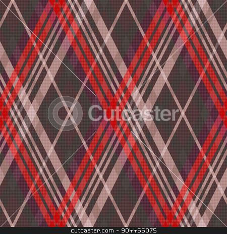 Rhombic tartan seamless texture mainly in muted colors stock vector clipart, Rhombic seamless vector pattern as a tartan plaid mainly in muted red and other colors by Nataliia