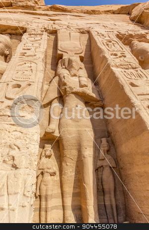 hathor abu simbel stock photo, a vertical view of a sculpture of Hathor of the temple of Nefertari. Abu Simbel, Nubia, Egypt by Noelia
