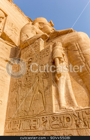 colossus of Abu Simbel stock photo, a vertical view of a detail of a relief of the colossus of Abu Simbel, Nubia, Egypt  by Noelia