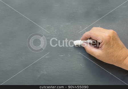 older hand writes on a blank chalkboard stock photo, older hand writes with white chalk on a blank chalkboard, copy space for your text by Maren Winter