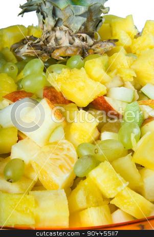 Salad on plate stock photo, Fresh self made fruit salad on plate by Aikon