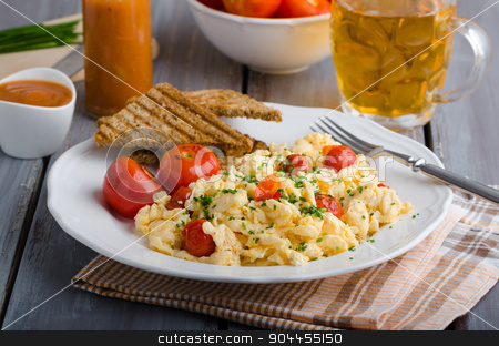 Scrambled eggs with baked tomatoes and chives, panini Scrambled eggs with baked tomatoes stock photo, Scrambled eggs with baked tomatoes and chives, panini toast by Peteer