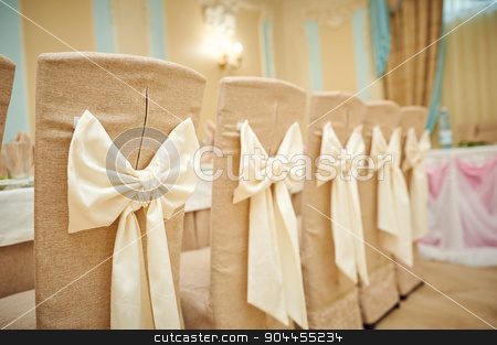 beautifully decorated chairs for the wedding ceremony stock photo, beautifully decorated chairs for the wedding ceremony. by timonko