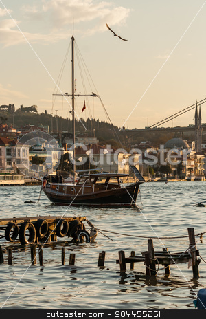 Boats with Reflections on the Sea of Bosphorus stock photo, Boat on the Sea of Bosphorus by OZMedia