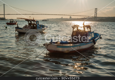 Boats with Reflections on the Sea of Bosphorus stock photo, Boats with reflections on the sea of Bosphorus from Cengelkoy, Istanbul by OZMedia