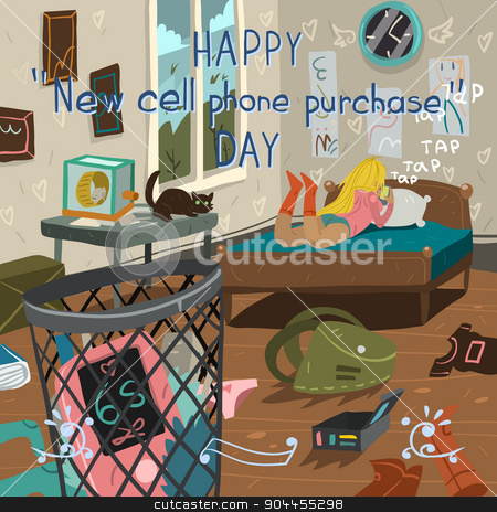Happy new cell phone purchase day. stock vector clipart, Funny cartoon greeting card. For ui, web games, tablets, wallpapers, and patterns. by lemon5ky