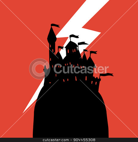 Cartoon dark Halloween Castle on a Hill flat icon. stock vector clipart, The vector illustration of cartoon castle on a hill for ui, web games, tablets, wallpapers, and patterns. by lemon5ky