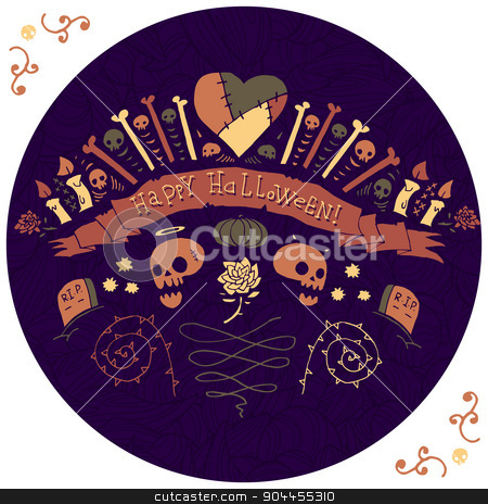 Happy Halloween greeting card. stock vector clipart, Vector flat illustration for ui, web games, site page backgrounds, postcards, greeting cards, invitations, pattern fills, textures, tablets and wallpapers. by lemon5ky