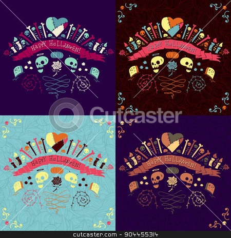 Happy Halloween greeting cards set. stock vector clipart, Vector flat illustration for ui, web games, site page backgrounds, postcards, greeting cards, invitations, pattern fills, textures, tablets and wallpapers. by lemon5ky