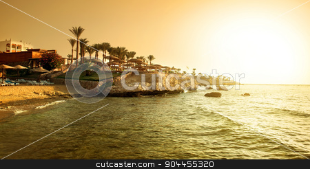 Coast of red sea stock photo, Coast of red sea at the sunset by Givaga