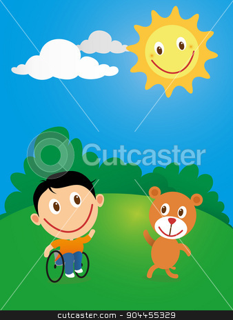 Happy child in wheelchair stock vector clipart, Handicapped happy child in wheelchair playing with friend bear in a sunny day. by Photojope