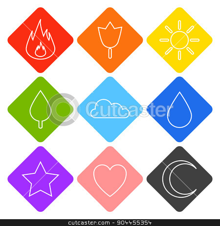 Vector icons for your web design. stock vector clipart, Random abstract flame, flower, sun, tree, cloud, water drop, star, heart, crescent moon. For ui, games, smart phones, desktop. by lemon5ky
