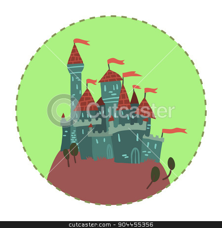 Cartoon Castle on a Hill flat icon. stock vector clipart, The vector illustration of cartoon castle on a hill for ui, web games, tablets, wallpapers, and patterns. by lemon5ky