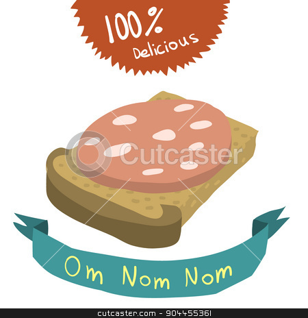 Cartoon bread and sausage flat icon. stock vector clipart, The vector illustration for ui, web games, tablets, wallpapers, and patterns. by lemon5ky