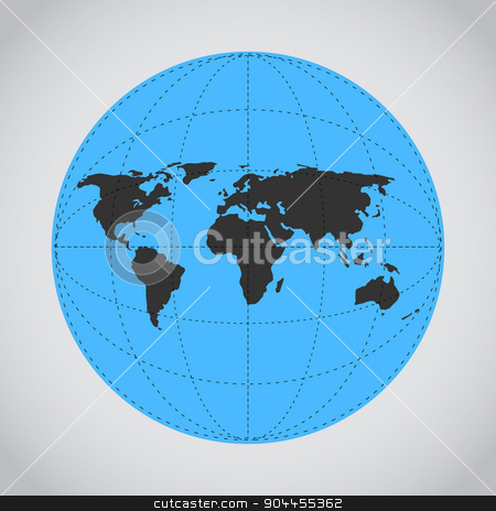 Vector mono blue illustration of Earth made. stock vector clipart, Techno flat map of the world for games presentations, ui tablets, smart phones. by lemon5ky