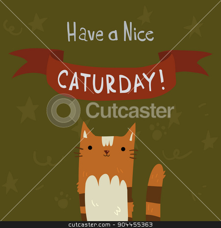 Cats Saturday Postcard. stock vector clipart, The cute vector postcard with funny cartoon cats for everyone who celebrate weekend and holidays. For ui, web games, tablets, wallpapers, and patterns. by lemon5ky