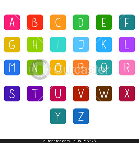 Colorful hand drawn vector full alphabet. stock vector clipart, The vector Roman alphabet. For ui, web games, tablets, wallpapers, and patterns. by lemon5ky