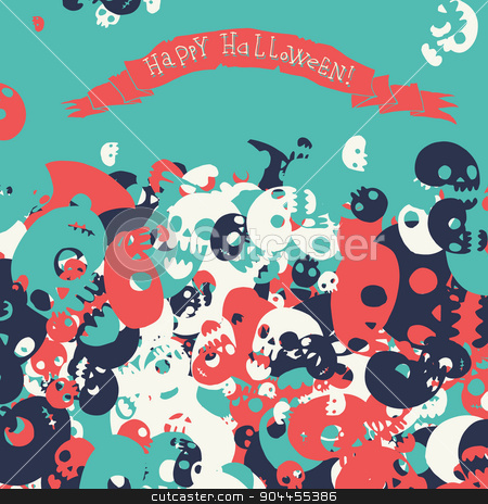 Halloween party skull background seamless pattern. stock vector clipart, Vector pattern for web page backgrounds, postcards, greeting cards, invitations, pattern fills, surface textures. Great for children bedroom. by lemon5ky