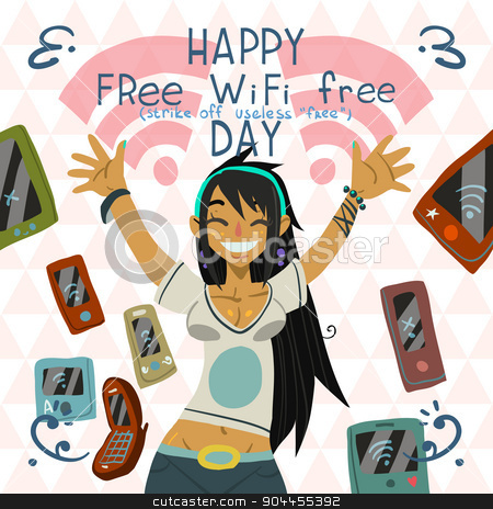 Happy Free wi-fi Free Day funny greeting card. stock vector clipart, The vector cartoon postcard with cartoon cute girl. For ui, web games, tablets, wallpapers, and patterns. by lemon5ky