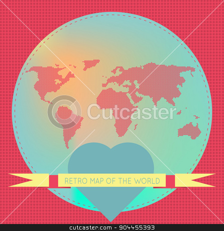 Love the world. stock vector clipart, Vector background illustration of Earth made of hearts pattern. Retro vintage map of the world. For ui, web games, tablets, wallpapers, and patterns. by lemon5ky