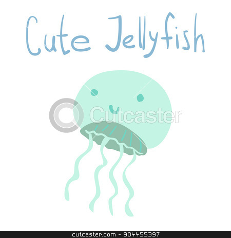 Vector cute cartoon ocean jellyfish. stock vector clipart, For ui, web games, tablets, wallpapers, and patterns. by lemon5ky