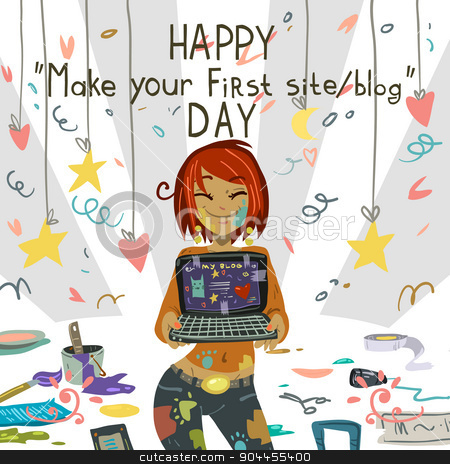 Happy Make your first site or blog day. stock vector clipart, Greeting card. Vector postcard for holidays, ui, web games, tablets, wallpapers, and patterns. by lemon5ky