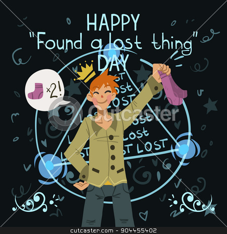 Happy found a lost thing day. stock vector clipart, Funny cartoon greeting card. For ui, web games, tablets, wallpapers, and patterns. by lemon5ky
