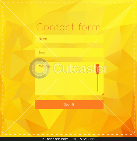 Simple contact us form templates. stock vector clipart, Vector template with yellow polygonal background. For ui, web games, tablets, wallpapers, and patterns. by lemon5ky