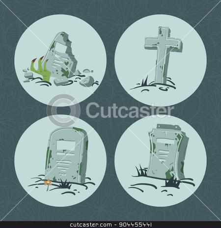Cartoon flat Halloween tombs set.  stock vector clipart, Vector tombs icons Vector pattern for web page backgrounds, postcards, greeting cards, invitations, pattern fills, surface textures. by lemon5ky