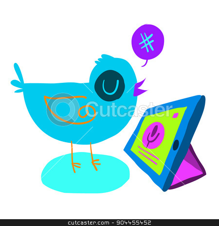Cartoon bird tweet with tablet flat icon. stock vector clipart, The vector illustration for ui, web games, tablets, wallpapers, and patterns. by lemon5ky